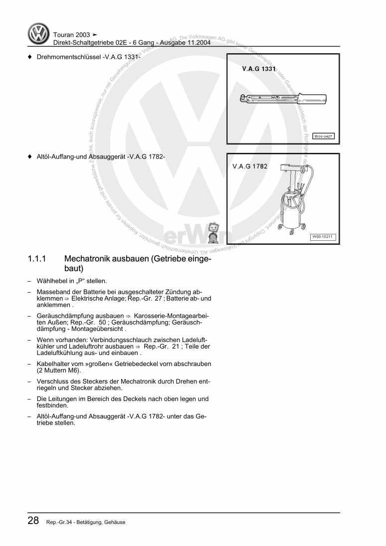 Beispielseite für Reparaturanleitung Direkt-Schaltgetriebe 02E - 6 Gang