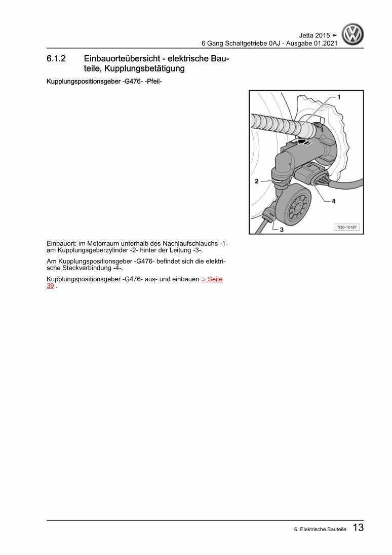 Beispielseite für Reparaturanleitung 6 Gang Schaltgetriebe 0AJ