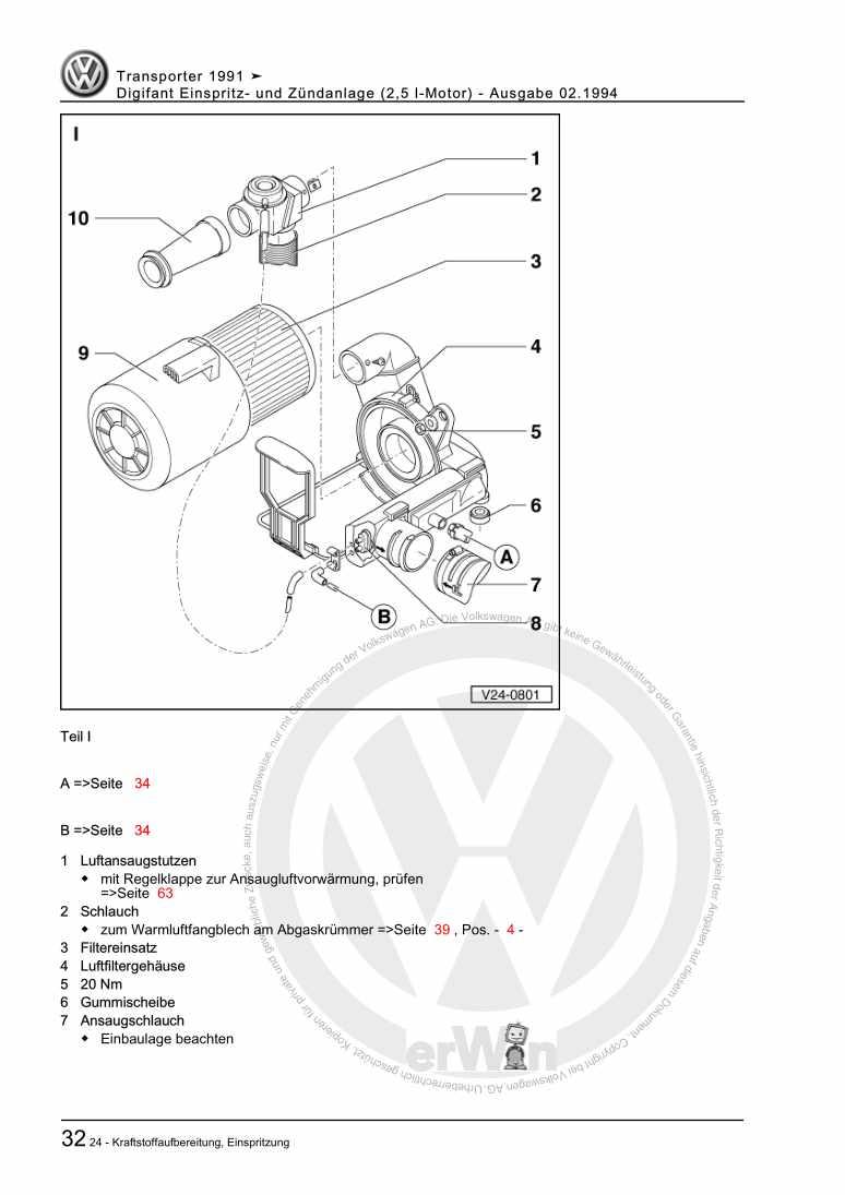 Beispielseite für Reparaturanleitung Digifant Einspritz- und Zündanlage (2,5 l-Motor)