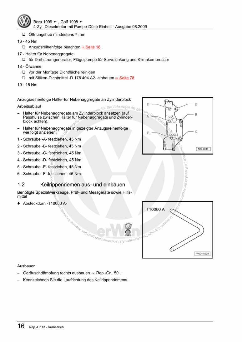 Beispielseite für Reparaturanleitung 4-Zyl. Dieselmotor mit Pumpe-Düse-Einheit