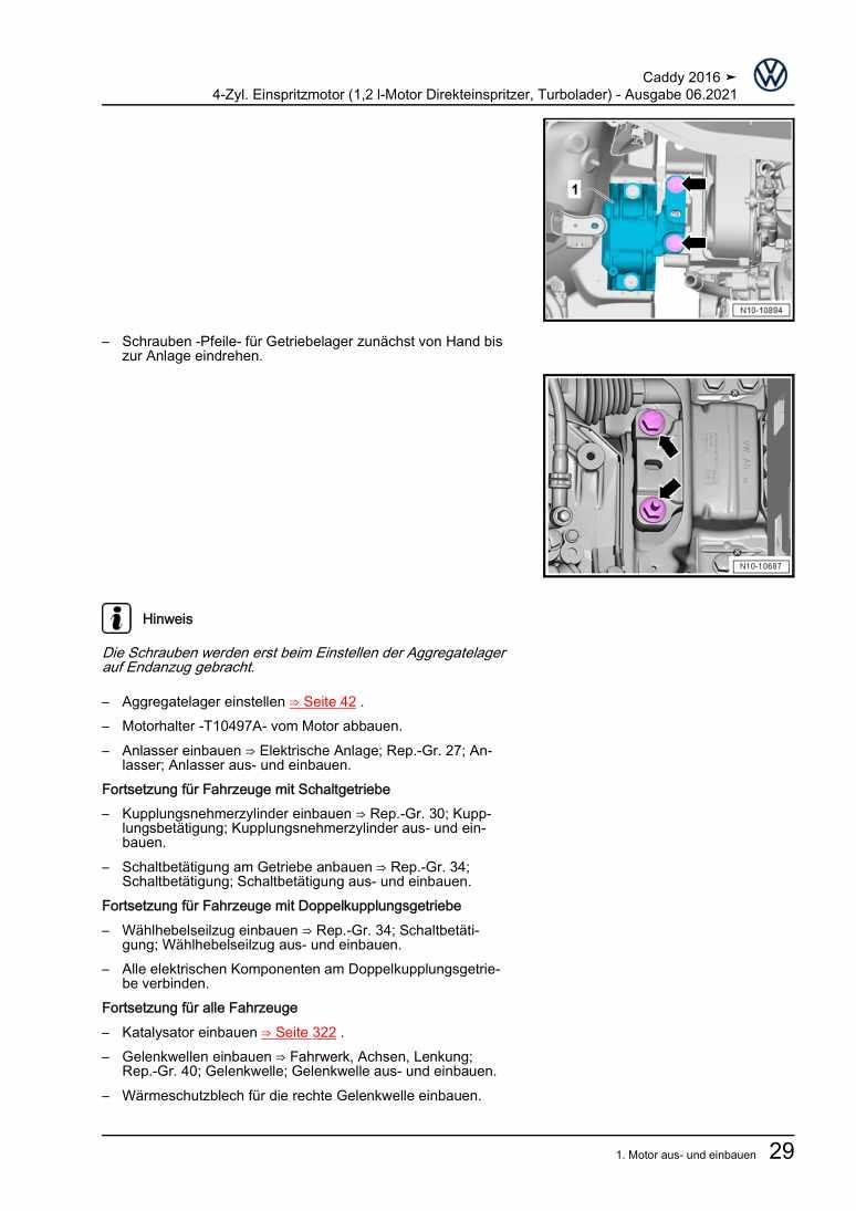 Beispielseite für Reparaturanleitung 4-Zyl. Einspritzmotor (1,2 l-Motor Direkteinspritzer, Turbolader)