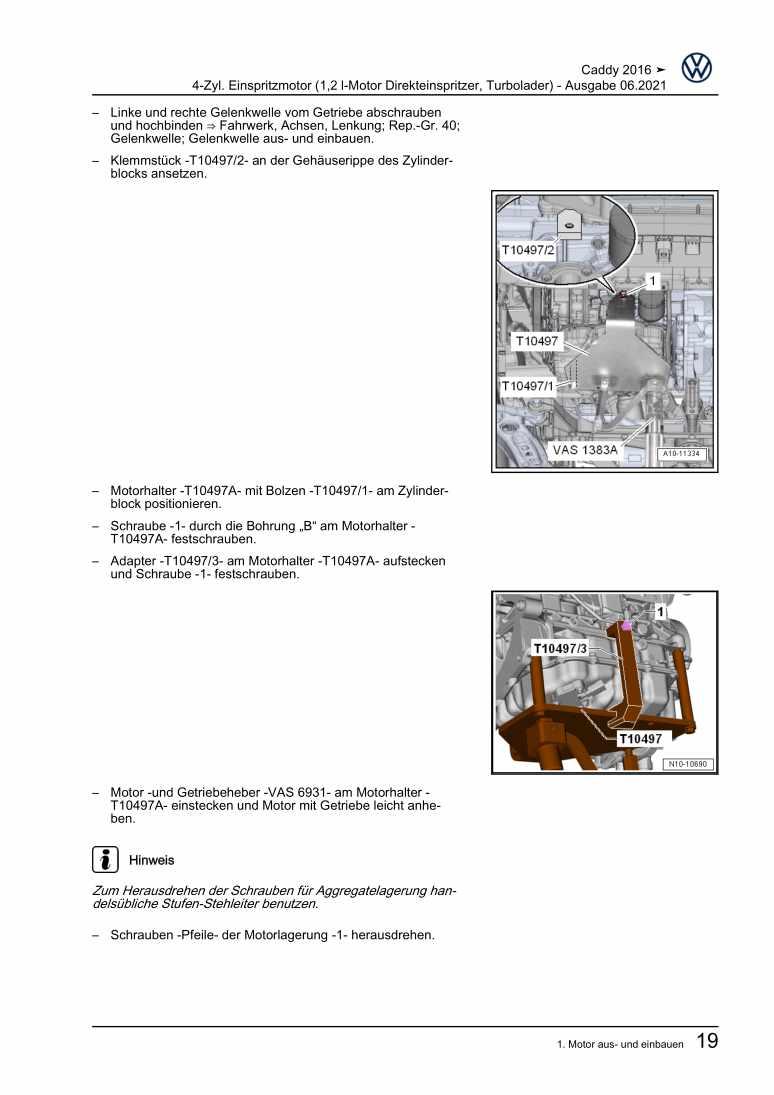 Beispielseite 2 für Reparaturanleitung 4-Zyl. Einspritzmotor (1,2 l-Motor Direkteinspritzer, Turbolader)