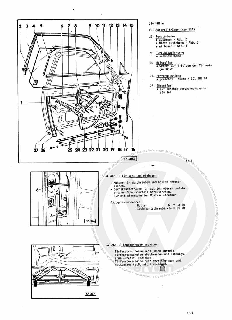 Beispielseite für Reparaturanleitung Karosserie-Montagearbeiten