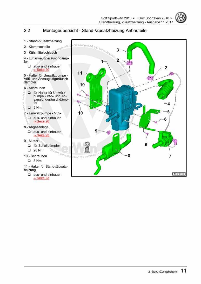 Beispielseite für Reparaturanleitung Standheizung, Zusatzheizung