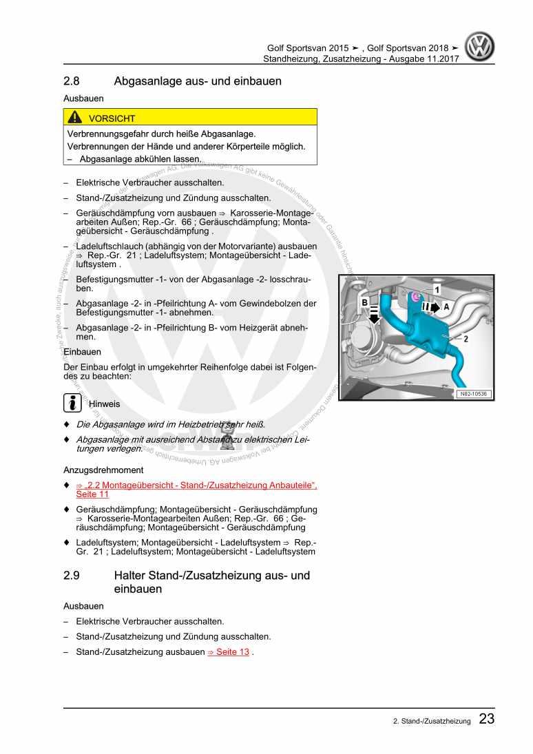 Beispielseite 2 für Reparaturanleitung Standheizung, Zusatzheizung