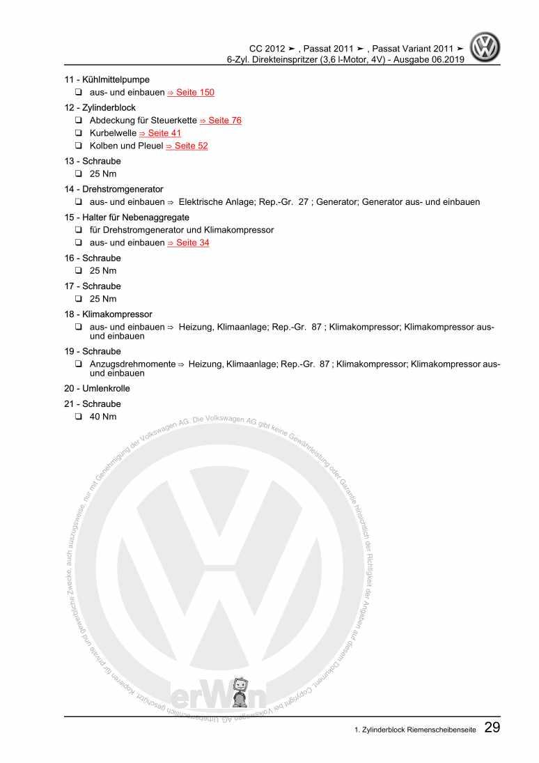Beispielseite für Reparaturanleitung 6-Zyl. Direkteinspritzer (3,6 l-Motor, 4V)