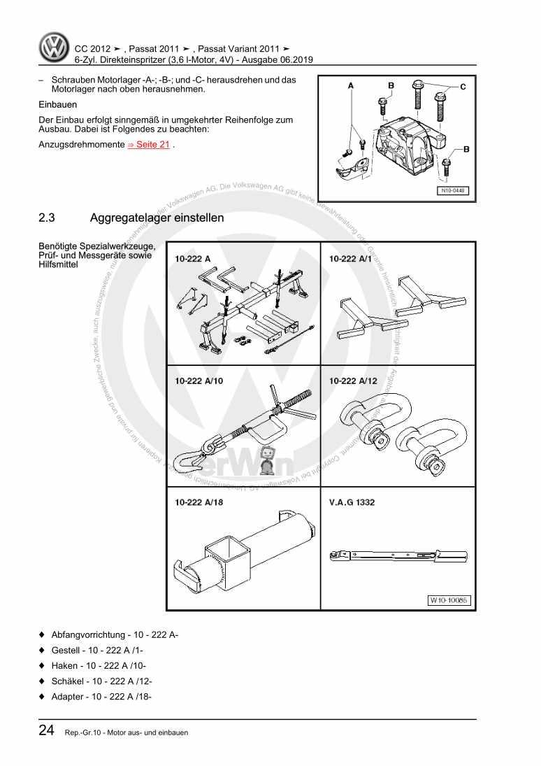 Beispielseite 2 für Reparaturanleitung 6-Zyl. Direkteinspritzer (3,6 l-Motor, 4V)