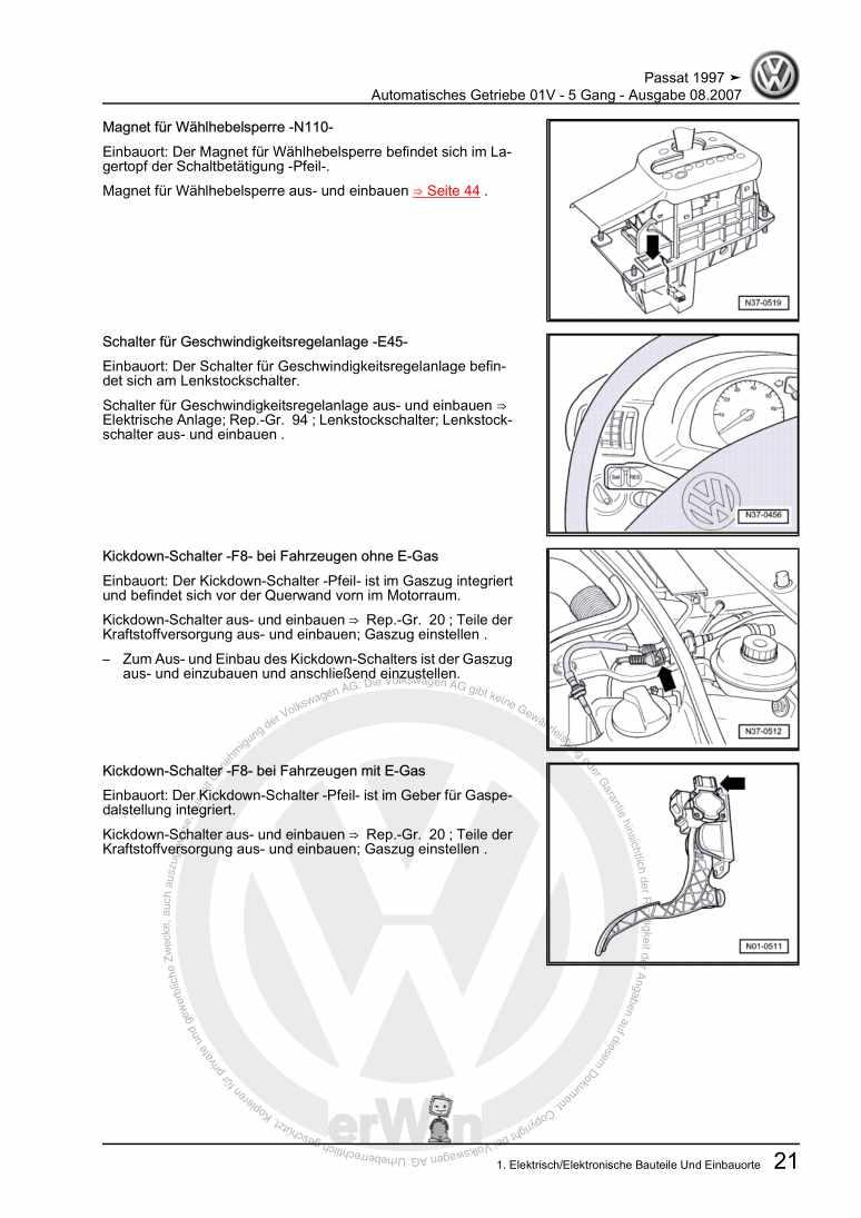 Beispielseite für Reparaturanleitung Automatisches Getriebe 01V - 5 Gang
