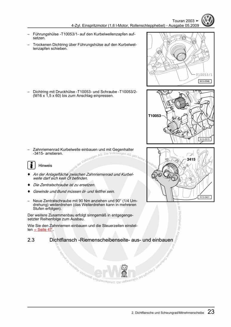 Beispielseite 2 für Reparaturanleitung 4-Zyl. Einspritzmotor (1,6 l-Motor, Rollenschlepphebel)