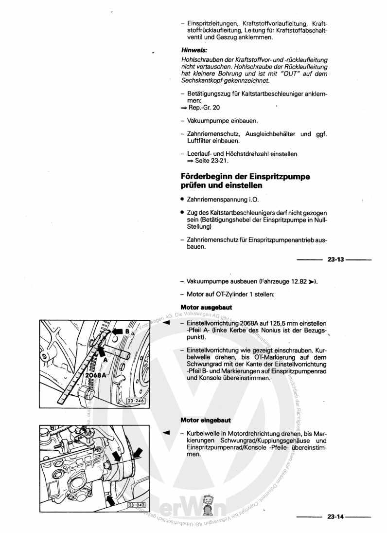 Beispielseite für Reparaturanleitung Diesel-Einspritz- und Vorglühanlage CP,DV,DW,ACL,ACT,1G,1S
