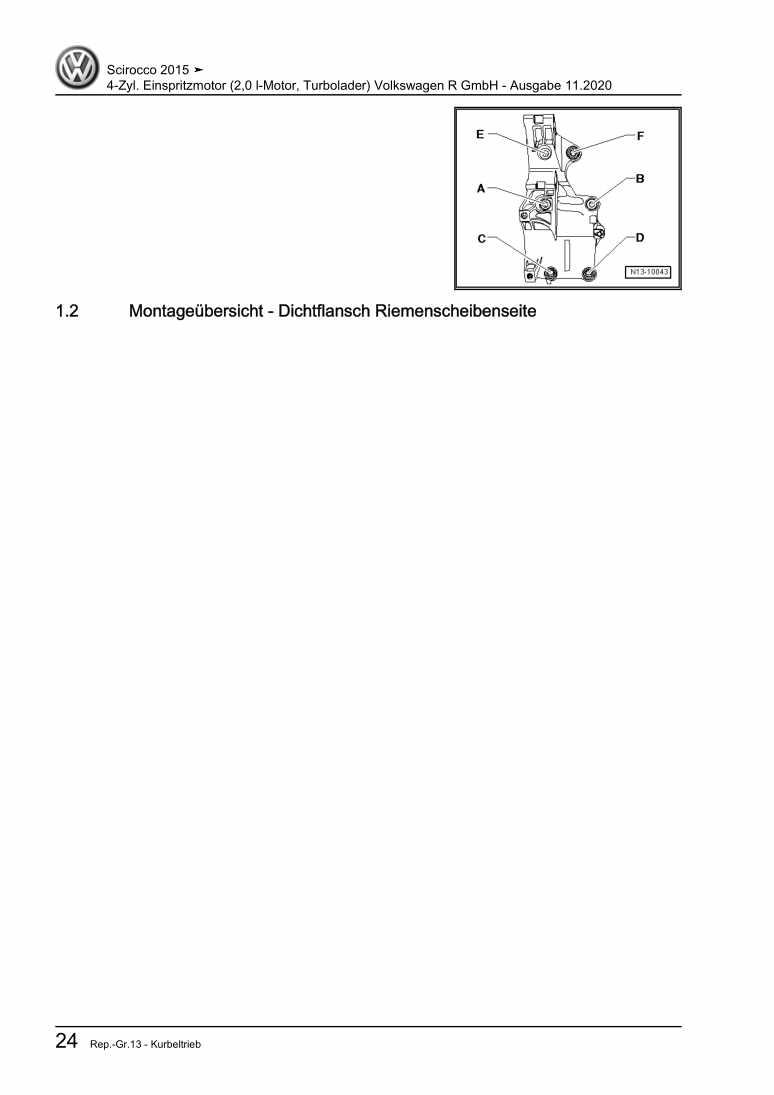 Beispielseite für Reparaturanleitung 4-Zyl. Einspritzmotor (2,0 l-Motor, Turbolader) Volkswagen R GmbH