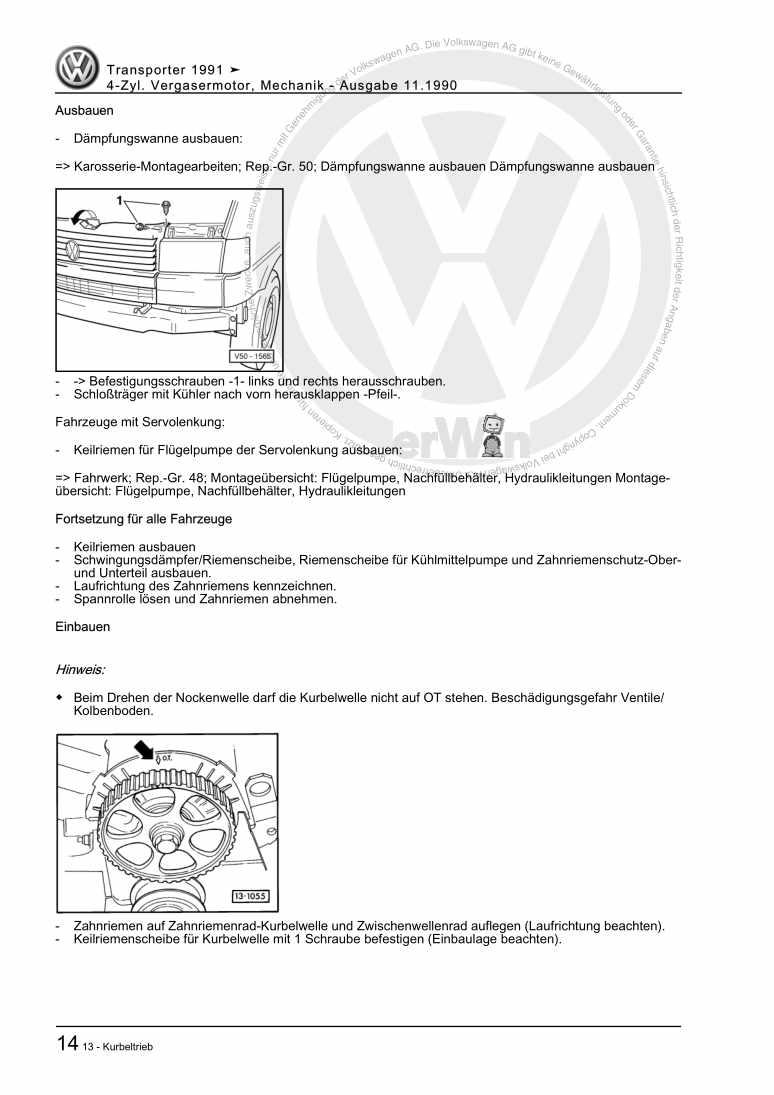 Beispielseite für Reparaturanleitung 4-Zyl. Vergasermotor, Mechanik