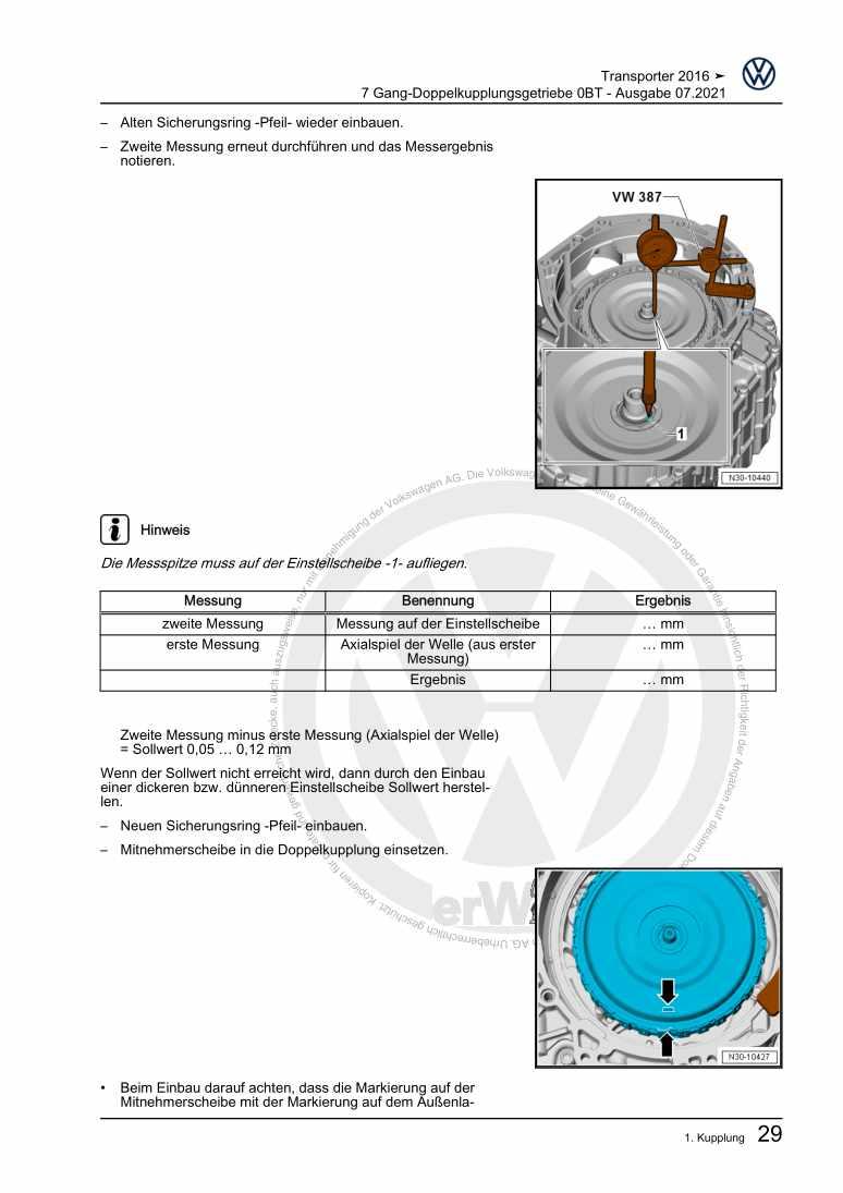 Beispielseite für Reparaturanleitung 7 Gang-Doppelkupplungsgetriebe 0BT