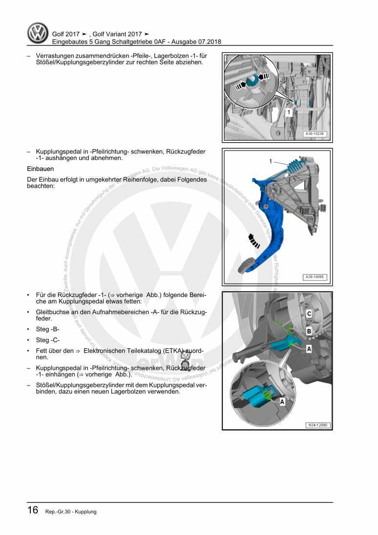 Beispielseite für Reparaturanleitung Eingebautes 5 Gang Schaltgetriebe 0AF