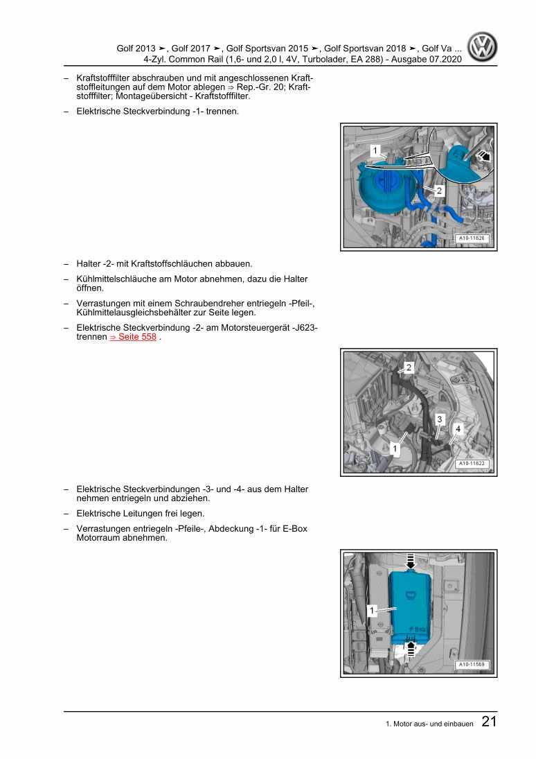 Beispielseite für Reparaturanleitung 4-Zyl. Common Rail (1,6- und 2,0 l, 4V, Turbolader, EA 288)