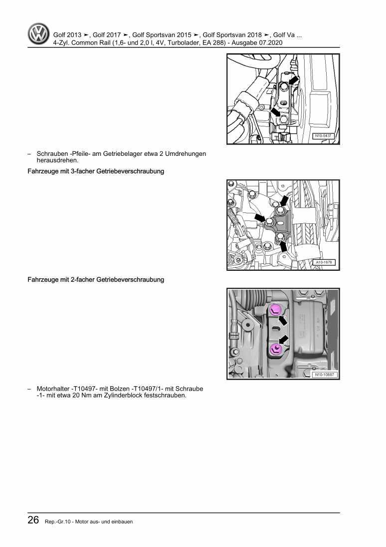 Beispielseite 2 für Reparaturanleitung 4-Zyl. Common Rail (1,6- und 2,0 l, 4V, Turbolader, EA 288)