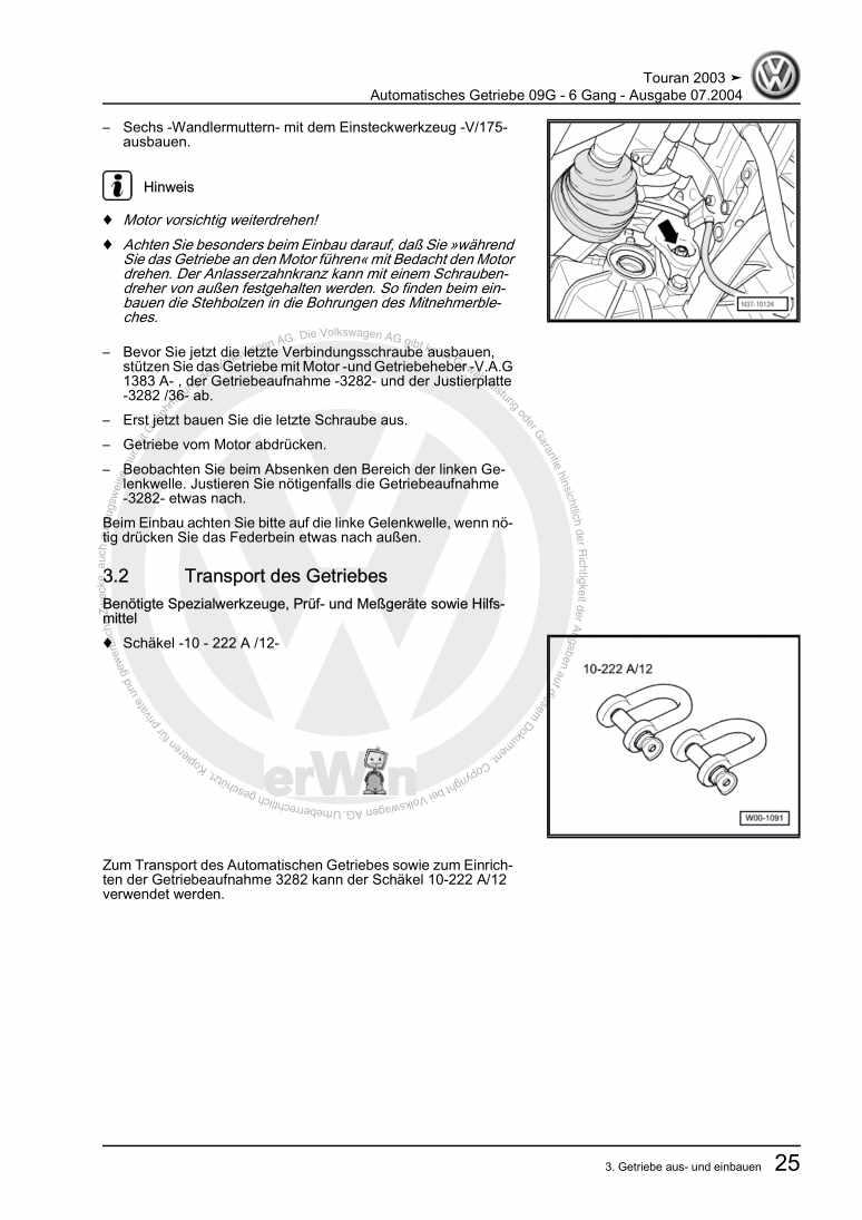 Beispielseite für Reparaturanleitung Automatisches Getriebe 09G - 6 Gang