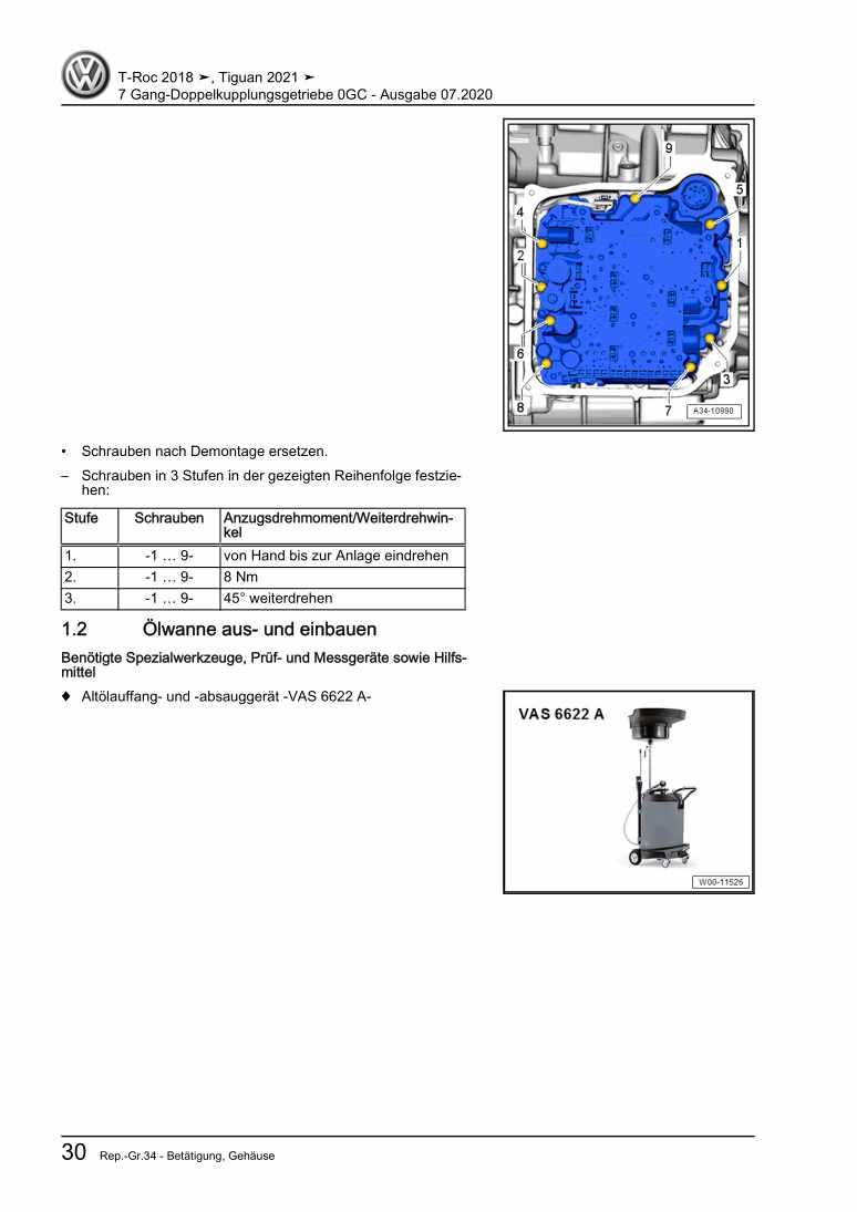 Beispielseite für Reparaturanleitung 7 Gang-Doppelkupplungsgetriebe 0GC