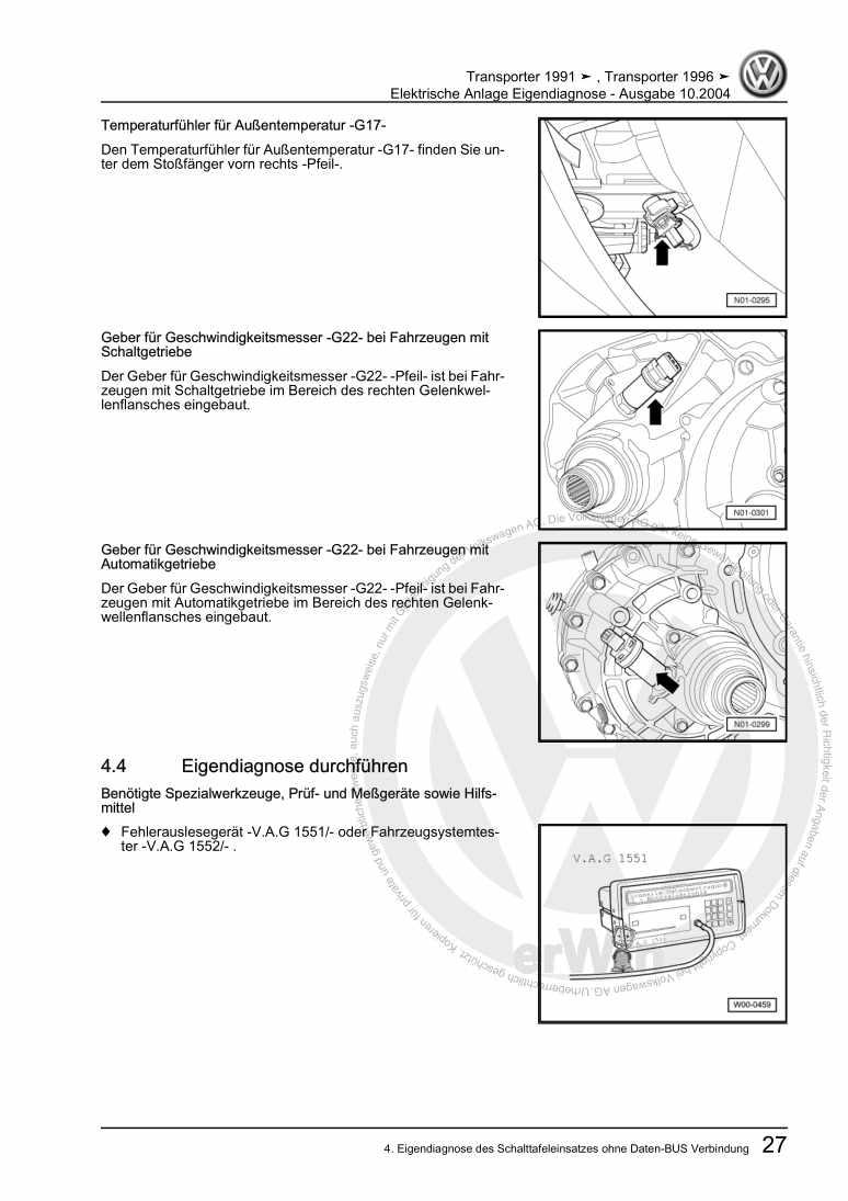 Beispielseite für Reparaturanleitung Elektrische Anlage Eigendiagnose