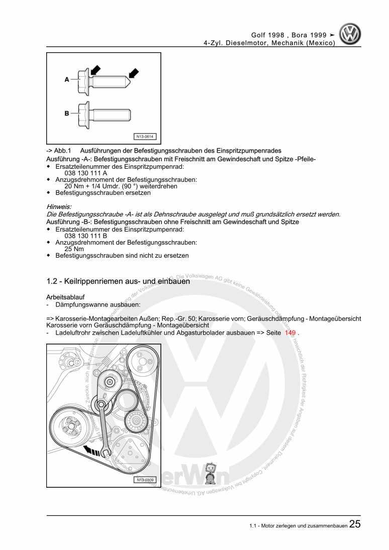 Beispielseite für Reparaturanleitung 4-Zyl. Dieselmotor, Mechanik (Mexico)