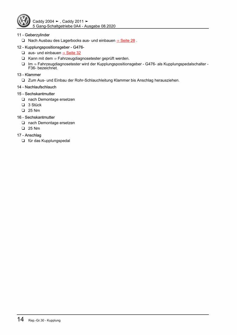 Beispielseite für Reparaturanleitung 5 Gang-Schaltgetriebe 0A4