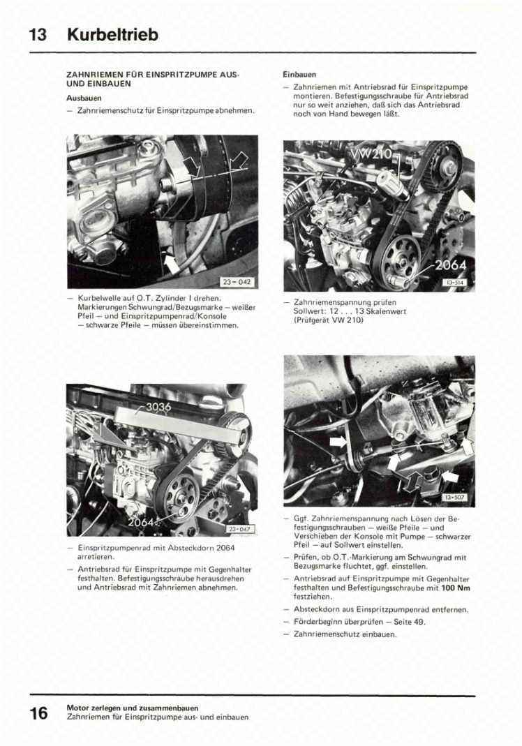 Beispielseite für Reparaturanleitung 5-Zyl.-Dieselmotor 076.1
