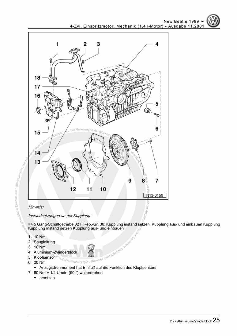 Beispielseite für Reparaturanleitung 4-Zyl. Einspritzmotor, Mechanik (1,4 l-Motor)