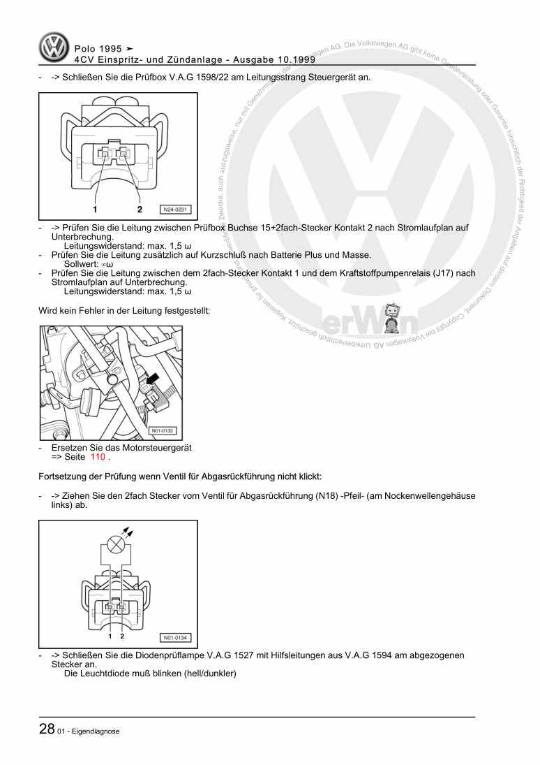 Beispielseite für Reparaturanleitung 4CV Einspritz- und Zündanlage