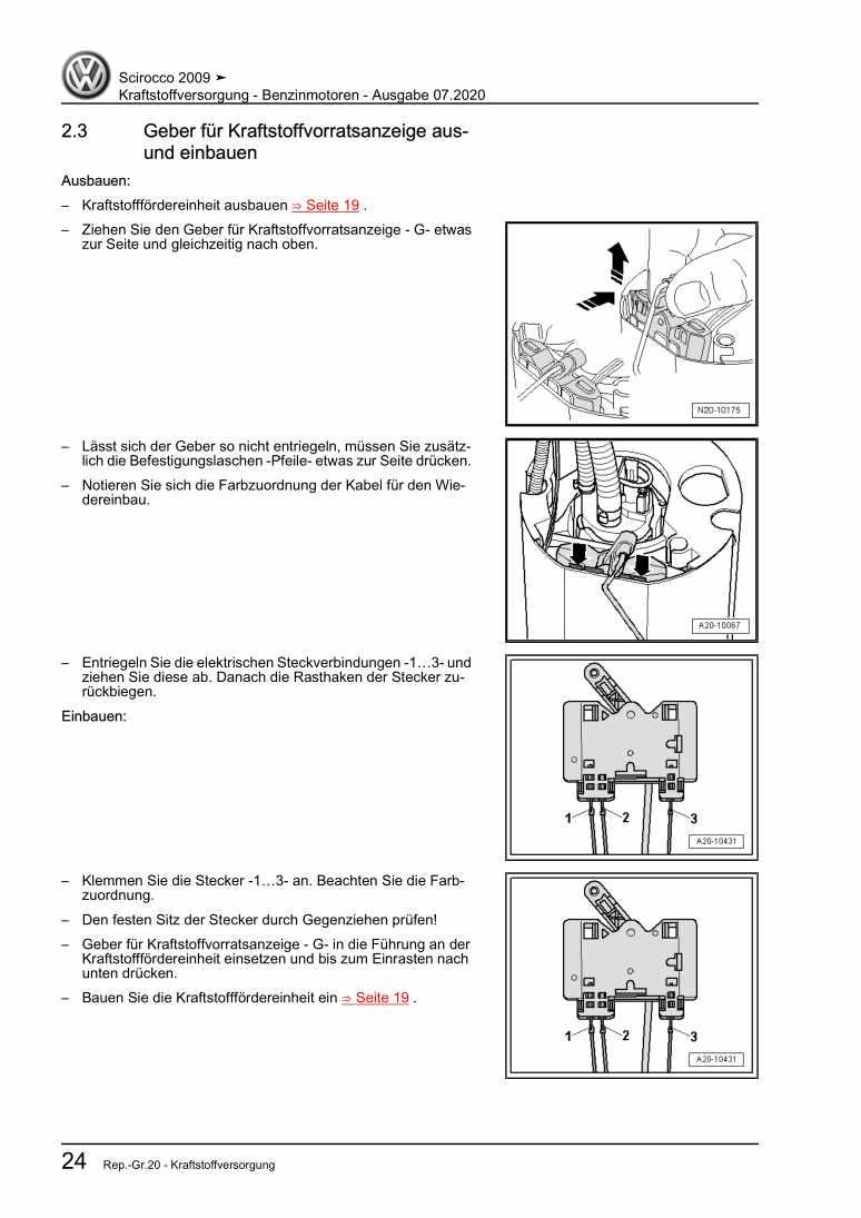 Beispielseite für Reparaturanleitung Kraftstoffversorgung - Benzinmotoren