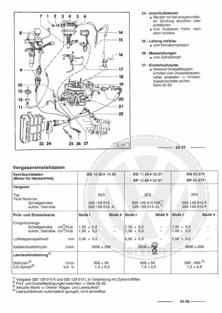 Beispielseite für Reparaturanleitung 34 PICT-, 2E3-, 2E4-Vergaser / Zündanlage (1 ,9-l-Motor) DF,DG,EY,SP