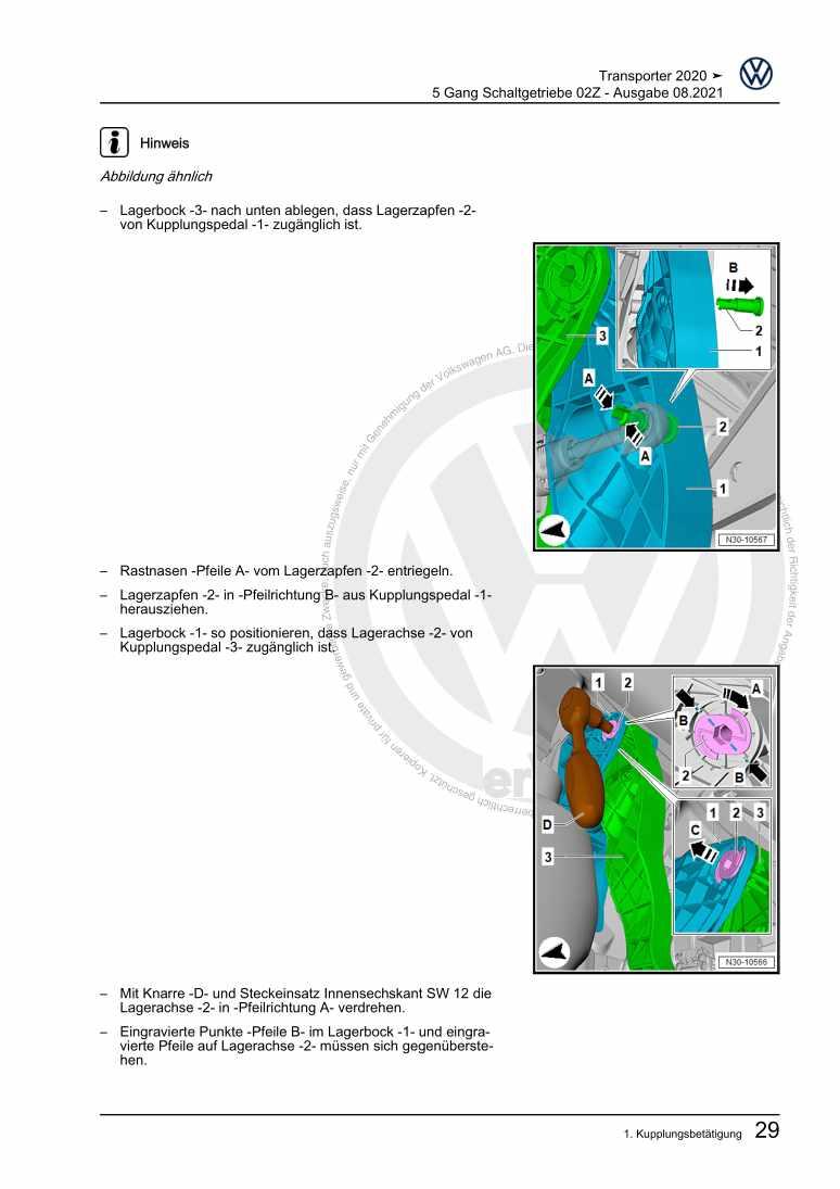 Beispielseite für Reparaturanleitung 5 Gang Schaltgetriebe 02Z
