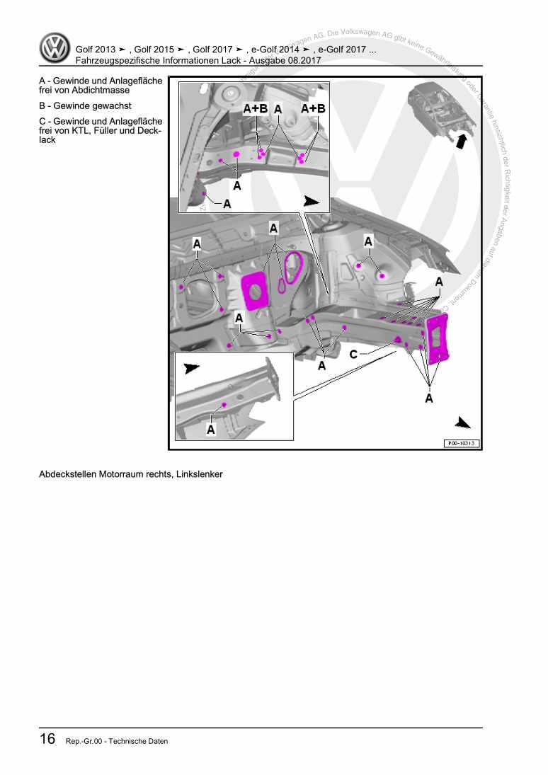 Beispielseite 2 für Reparaturanleitung Fahrzeugspezifische Informationen Lack