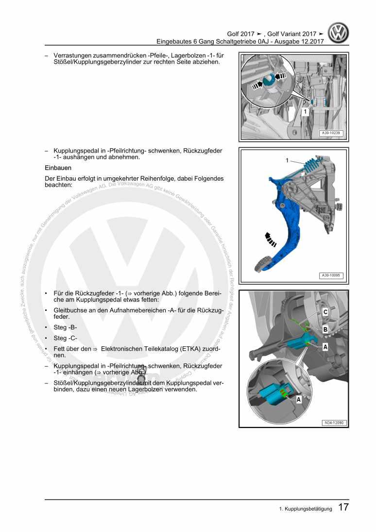 Beispielseite für Reparaturanleitung Eingebautes 6 Gang Schaltgetriebe 0AJ