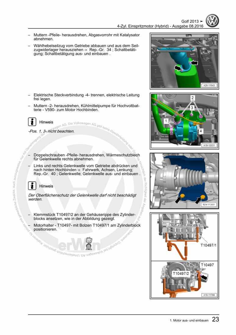 Beispielseite für Reparaturanleitung 4-Zyl. Einspritzmotor (Hybrid)