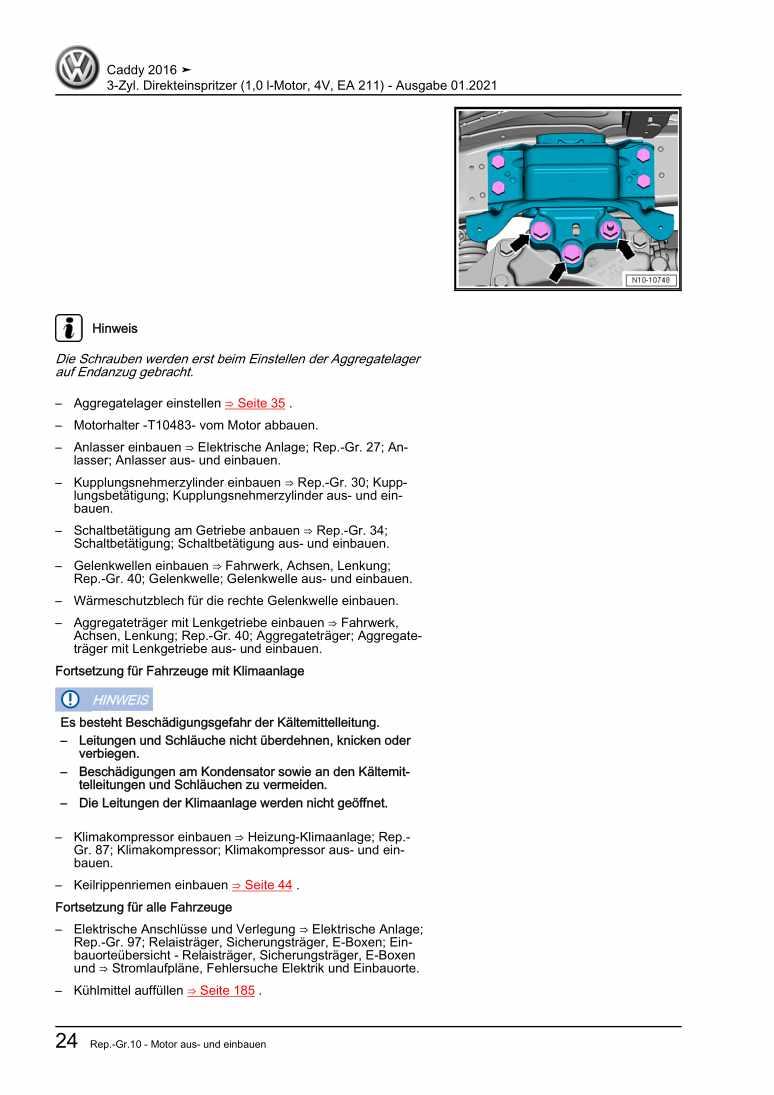 Beispielseite für Reparaturanleitung 3-Zyl. Direkteinspritzer (1,0 l-Motor, 4V, EA 211)