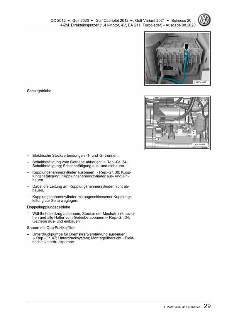 Beispielseite für Reparaturanleitung 4-Zyl. Direkteinspritzer (1,4 l-Motor, 4V, EA 211, Turbolader)
