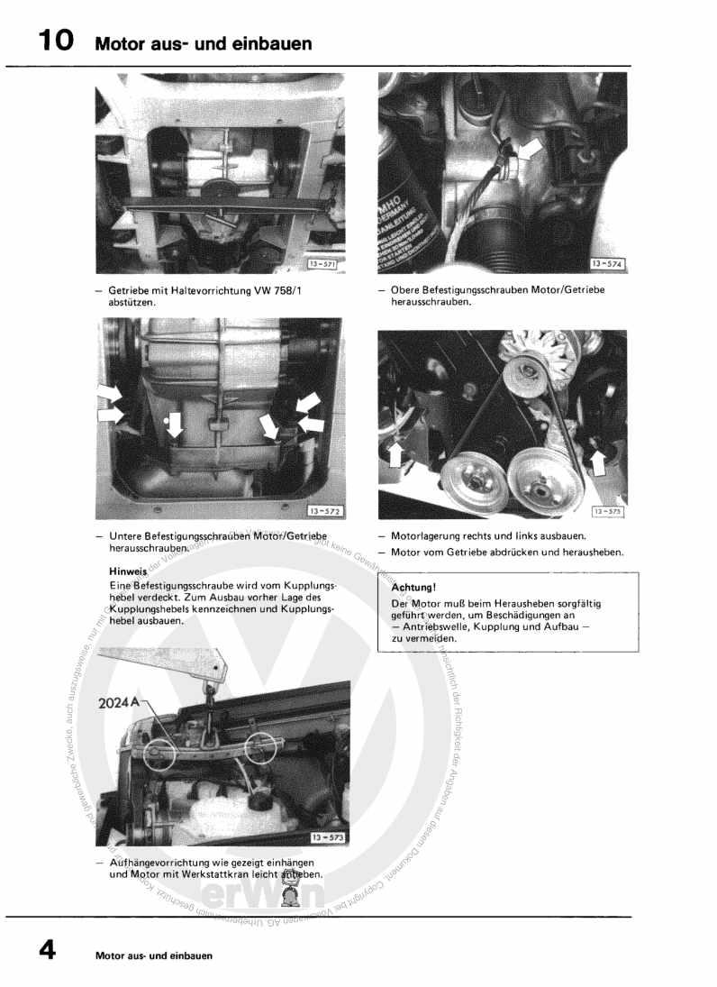 Beispielseite für Reparaturanleitung 1,7-l-Vergasermotor
