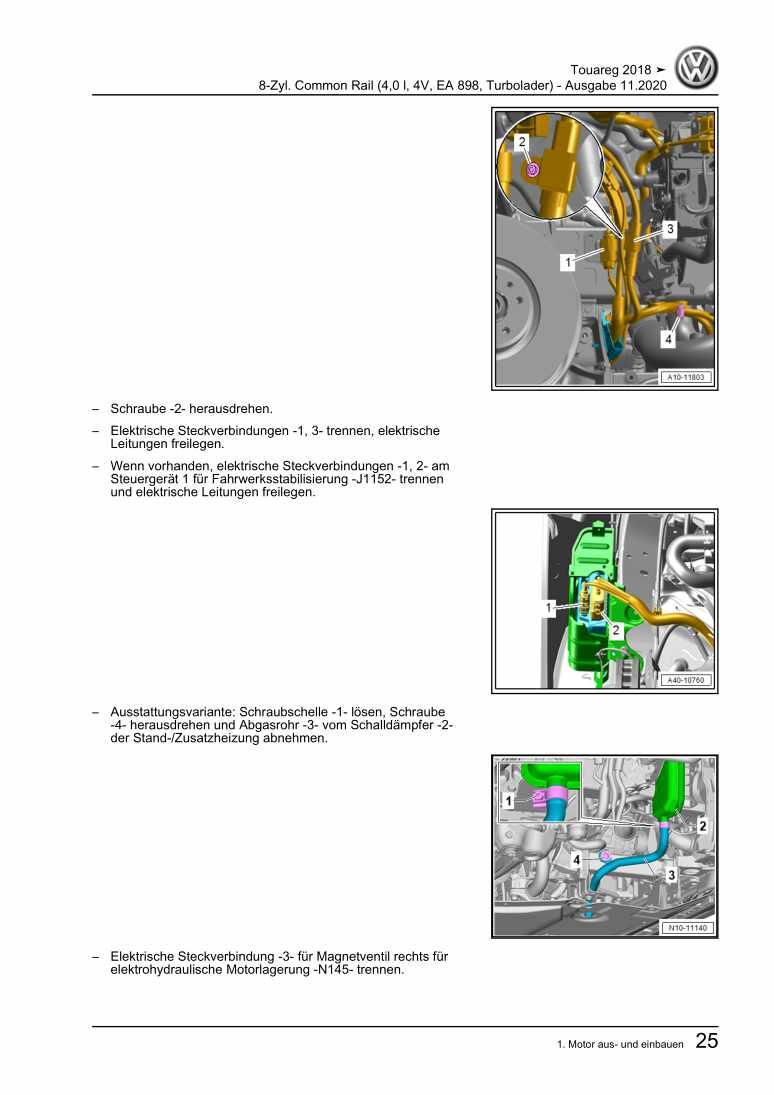 Beispielseite für Reparaturanleitung 8-Zyl. Common Rail (4,0 l, 4V, EA 898, Turbolader)