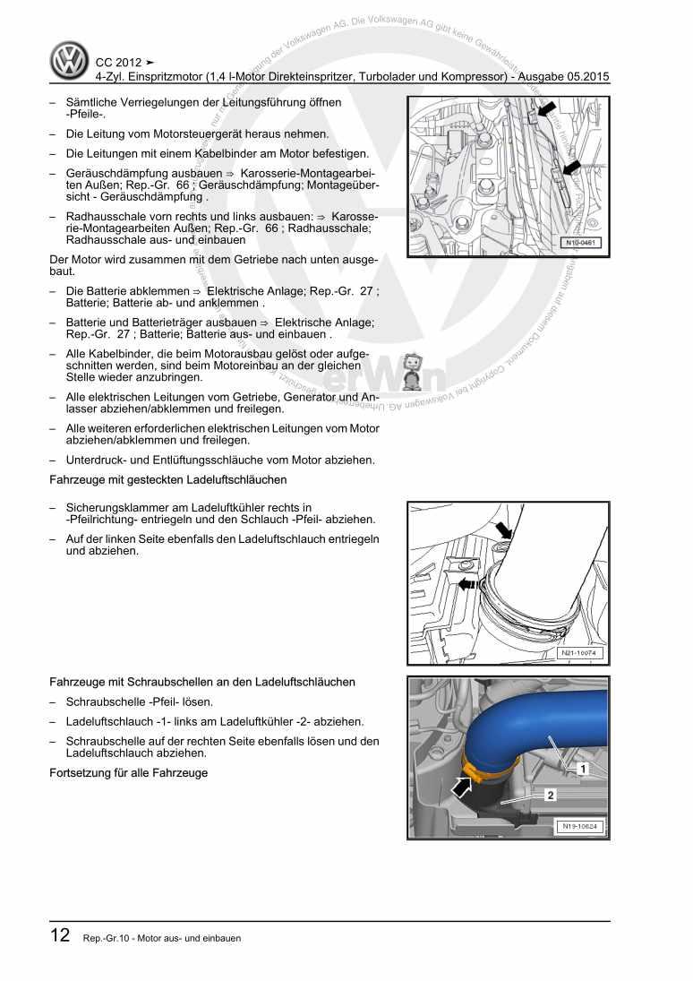 Beispielseite für Reparaturanleitung 4-Zyl. Einspritzmotor (1,4 l-Motor Direkteinspritzer, Turbolader und Kompressor)
