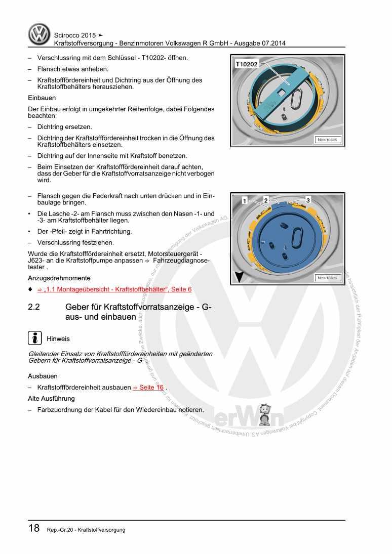 Beispielseite für Reparaturanleitung Kraftstoffversorgung - Benzinmotoren Volkswagen R GmbH