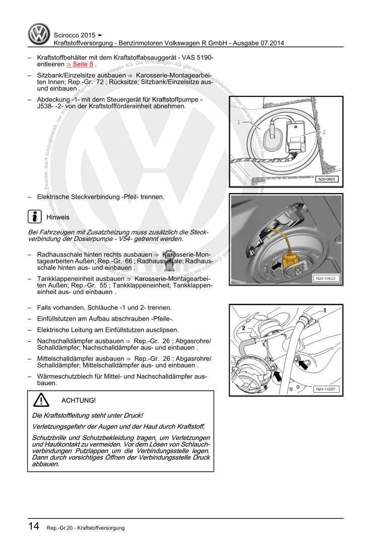 Beispielseite 2 für Reparaturanleitung Kraftstoffversorgung - Benzinmotoren Volkswagen R GmbH