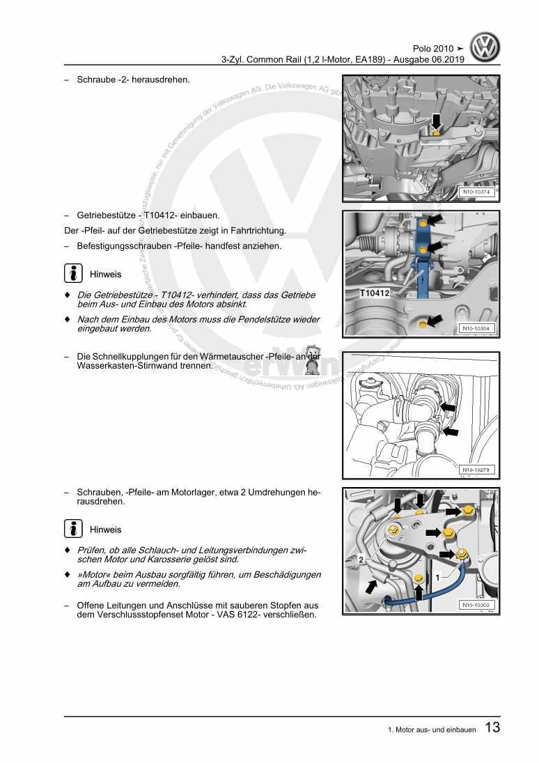 Beispielseite für Reparaturanleitung 3-Zyl. Common Rail (1,2 l-Motor, EA189)