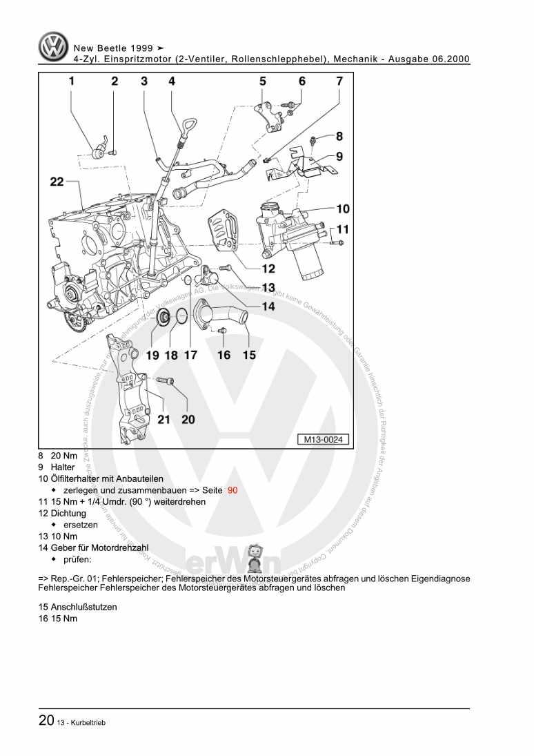 Beispielseite für Reparaturanleitung 4-Zyl. Einspritzmotor (2-Ventiler, Rollenschlepphebel), Mechanik