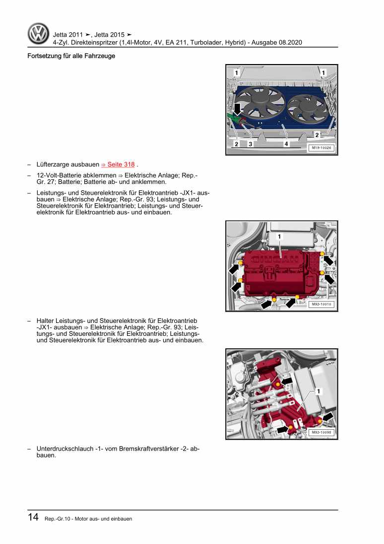 Beispielseite für Reparaturanleitung 4-Zyl. Direkteinspritzer (1,4l-Motor, 4V, EA 211, Turbolader, Hybrid)