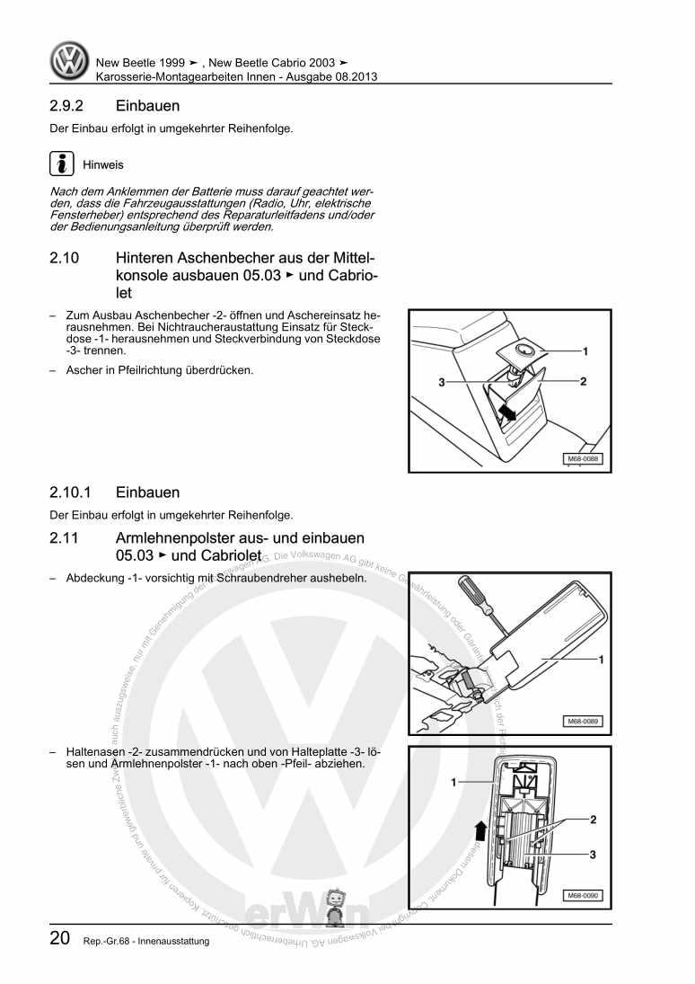 Beispielseite 2 für Reparaturanleitung Karosserie-Montagearbeiten Innen