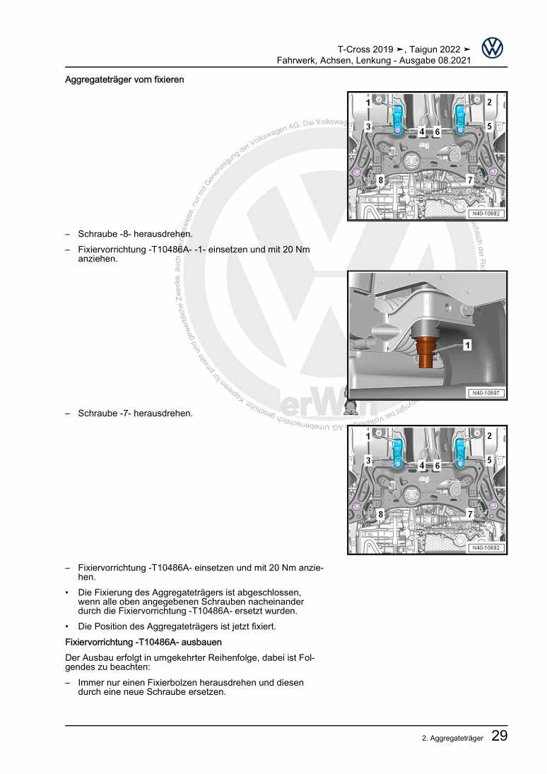 Beispielseite für Reparaturanleitung Fahrwerk, Achsen, Lenkung