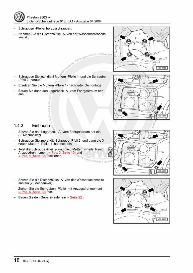 Beispielseite für Reparaturanleitung 6 Gang-Schaltgetriebe 01E, 0A1
