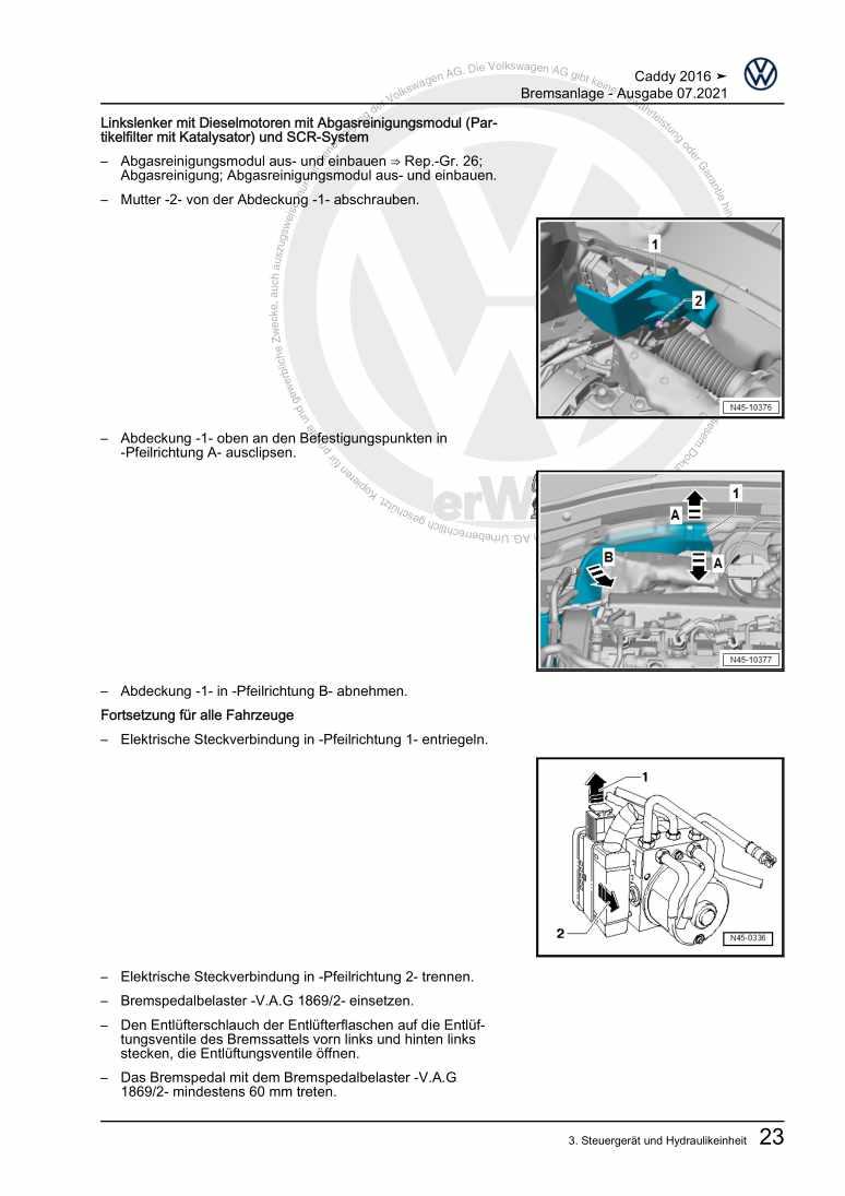 Beispielseite für Reparaturanleitung Bremsanlagen