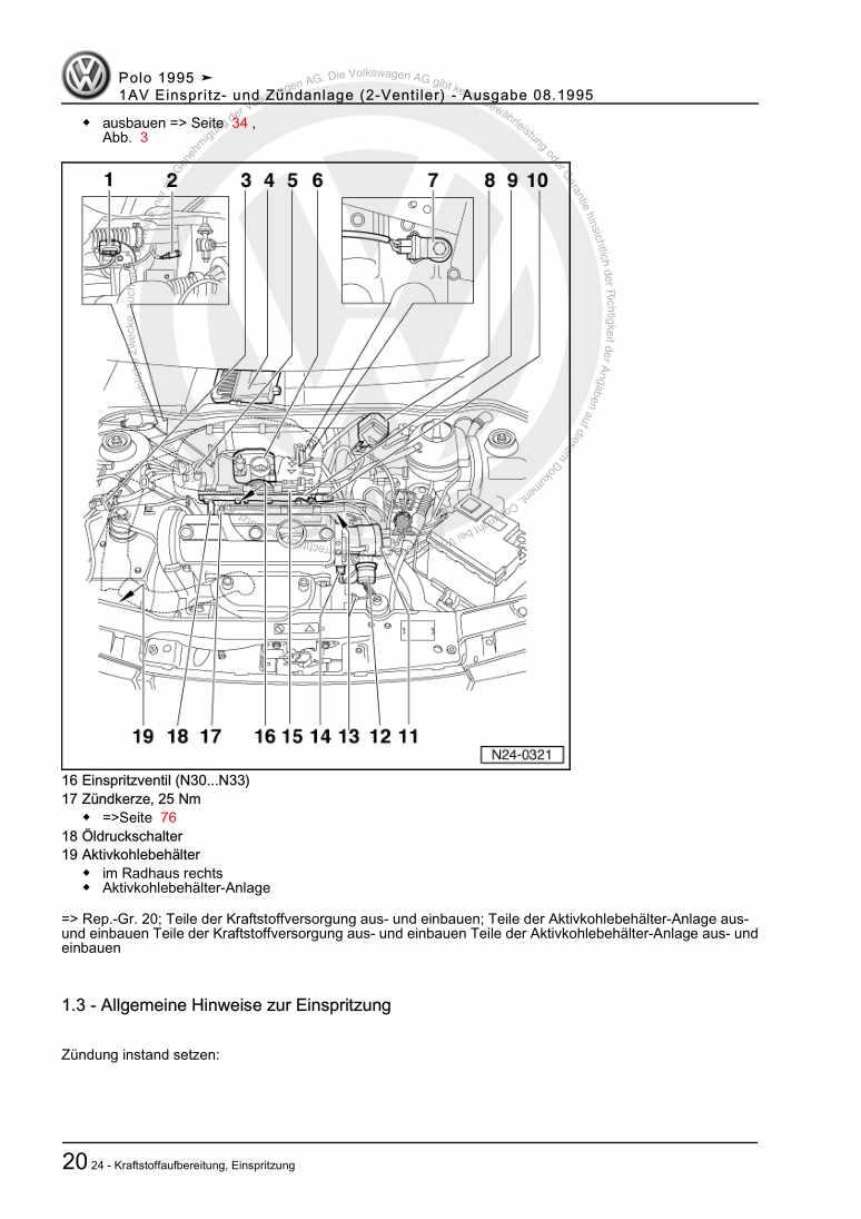 Beispielseite für Reparaturanleitung 1AV Einspritz- und Zündanlage (2-Ventiler)