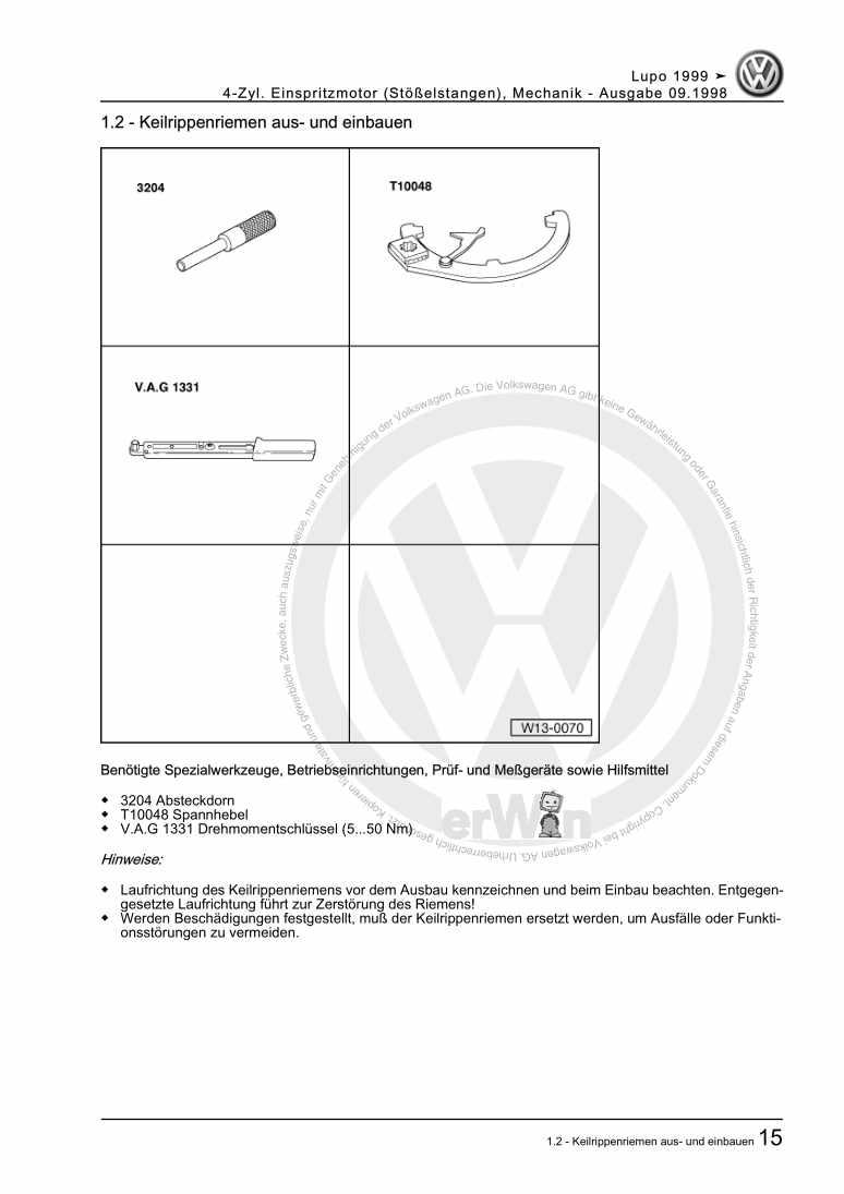 Beispielseite für Reparaturanleitung 4-Zyl. Einspritzmotor (Stößelstangen), Mechanik